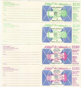 GB 1987 'Keep in Touch' Folded Booklets FL8 & FU2 A+B with 'Philatelia 87' Opts