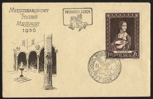 wc046 Poland International Museum Week 1956 FDC first day cover