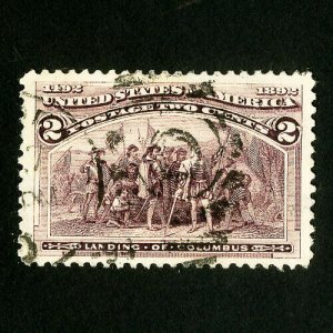 US Stamps # 231c Jumbo used broken bat variety