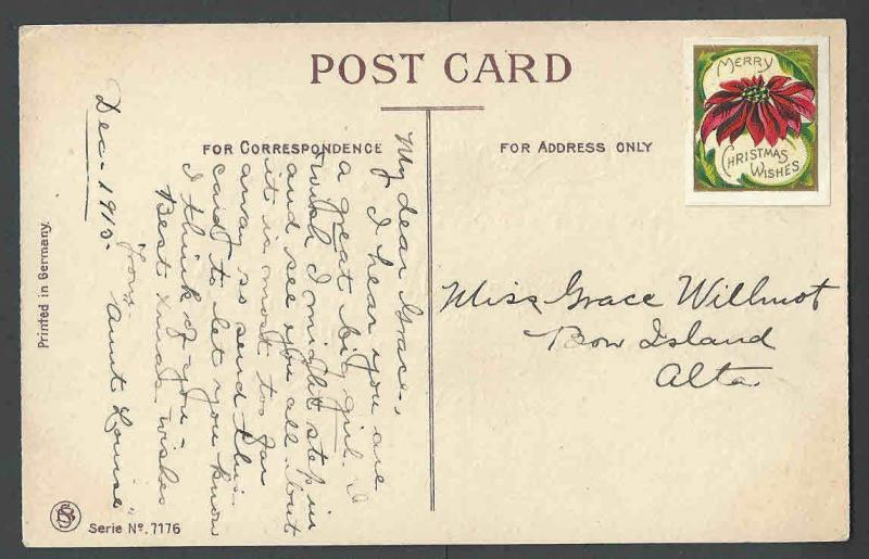 1912 PPC*  Xmas Card W/Label Unposted