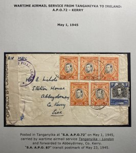 1945 Tanganyika Army Post Office Censored Airmail Cover to Kerry Ireland