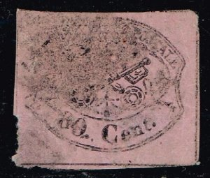 ITALY STAMP PAPAL 1867 Coat of Arms USED THIN STAMP