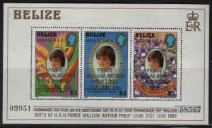 BELIZE  634, SOUVENIR SHEET, MNH, 1982 Homage to the 21st birthday of princess