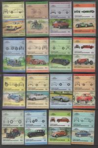 UNION ISLAND, 142-163 MNH CLASSIC CARS, PAIRS,  1985-1986