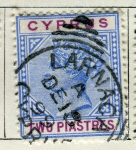 CYPRUS; 1894 classic QV Crown CA issue fine used 2Pi. value