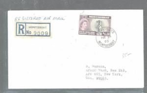 MONTSERRAT  (P2903B) QEII $1.20 REG COVER FROM ST PATRICKS 1965 TO USA