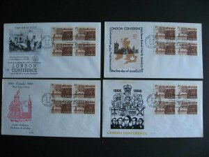 Canada London Conference 4 different cachets FDC first day covers Sc 448 blocks