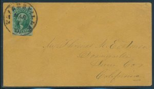 #15 10c 1851 ON COVER TO CALIFORNIA (STAMP IS XF-SUPERB) BU9541