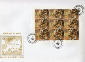 Niger 1998 Sc#1001 Chinese Year of the Tiger/Lions Club Sheetlet(9) Official FDC
