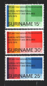 Suriname. 1975. 695-97. 100 years of adoption of the metric system. MNH.