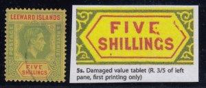 Leeward Islands, SG 112ab, used (pale color, cor crease) Damaged Value Tablet