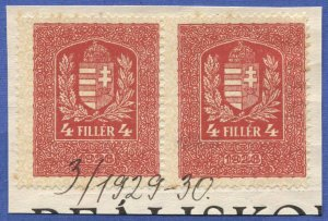 HUNGARY 1926 Barefoot # 411, Used 4f pair Revenue stamps on piece