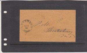 U.S. Stampless Postmaster Free CXL Leverett Mass. Cover to Shutesbury Mass.