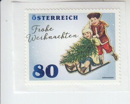 2019 Austria Christmas Boy with Sled SA Coil (Scott 2833) MNH