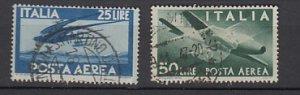 J25735 1945-7 italy hv,s of set used #c111,c113 airplanes/bird