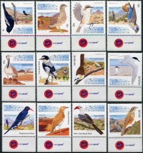 Namibia. 2012. Endemic birds of Namibia. Label2 (MNH OG) Set of 12 stamps