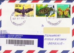 RARE MONTSERRAT BRITISH FAUNA REGIST AIR MAIL TO NAGORNO KARABAKH ARMENIA R15969