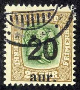 Iceland Sc# 133 Used 1921-1925 20a Overprints
