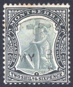 Montserrat 1903 2s 6d Green & Black Wmk Crown CA SG 22 Scott 20 VFU Cat £50($65)