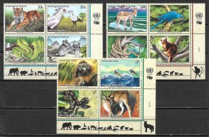 United Nations 760a, G 339a, V 256a 1999 Endangered Species Block MNH (lib)