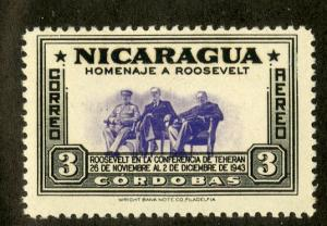 NICARAGUA C275 MH SCV $3.75 BIN $1.55 ROOSEVELT