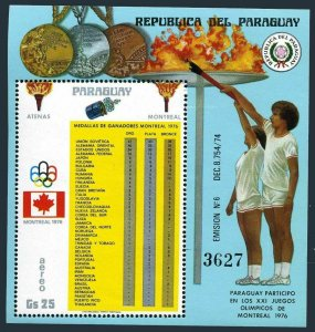 Paraguay 1707,MNH.Mi 2873 Bl.290. Olympics Montreal-1976.Medals list.
