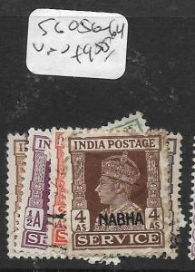 INDIA  NABHA  (PP1305B) KGVI SERVICE SG O56-64   VFU