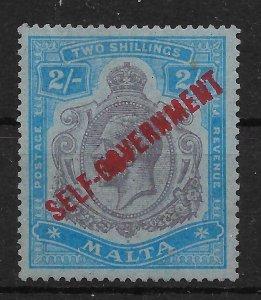 MALTA SG120c 1922 SELF-GOVERNMENT 2/= PURPLE & BLUE LINES OMITTED VAR MTD MINT