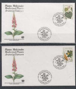 UN Vienna 101-102 Medicinal Plants UN Postal Administration U/A Set of Two FDC