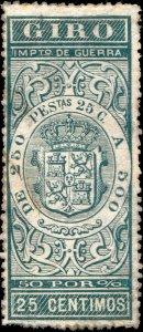 ESPAGNE / SPAIN / ESPAÑA 1876 Sello Fiscal (GIRO) 25 centimos verde - Sin Goma