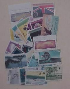 COCOS ISLAND 38 STAMPS MINT NH FACE IS $15.65 & 1 SHILLING LIGHT HINGED