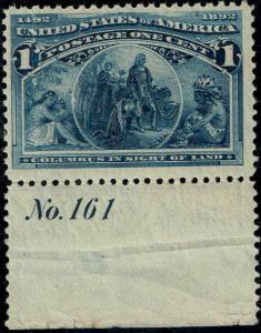 #230 BOTTOM PLATE #161 1893 1 CENT COLUMBIAN  ISSUE MINT-OG/NH