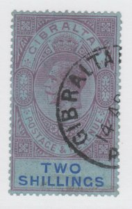 Gibraltar Sc 85 used. 1921 2sh gray violet & ultra KGV, crisp cancel, sound