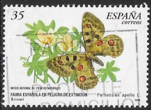 Spain 3023 Used - Endangered Species - Butterfly - Apollo (Parnassius apollo)