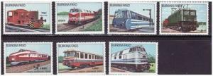 Burkina Faso - 1985 Locomotives - 7 Stamp  Set   2S-002