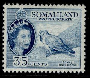 SOMALILAND PROTECTORATE QEII SG142, 35c blue, LH MINT.