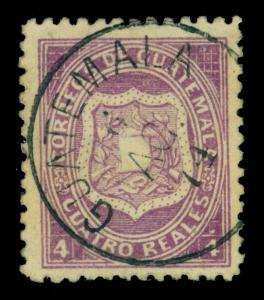GUATEMALA 1873 Coat of Arms  4r dull violet  Sc# 5 used XF  GUATEMALA 6.AGO.74