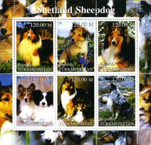 TURKMENISTAN 2000 Dogs Shetland Sheepdog Sheet (9) Perforated mnh.vf