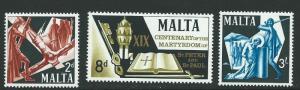 MALTA SG382/4 1967 1900th ANNIV OF MARTYRDOM OF SAINTS PETER & PAUL MNH
