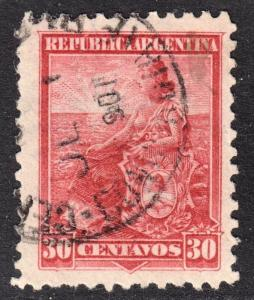 Argentina Scott 137a  scarlet shade  F+  used.