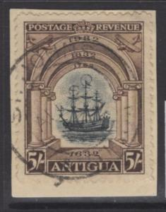 ANTIGUA SG90 1932 5/= BLACK & CHOCOLATE FINE USED ON PIECE