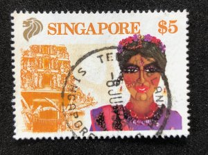 Singapore # 582 (1990) $5.00 Used Previously Hinged