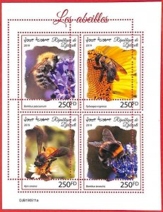 A3882 - DJIBOUTI - ERROR MISPERF, Miniature sheet: 2019, Bees, Insects