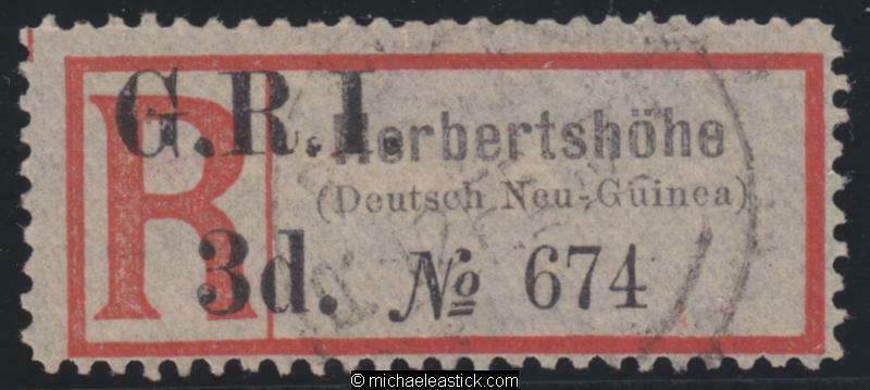 1915 New Guinea Reg Label surcharged GRI 3d for Herbertshöhe, SG 36e, FU