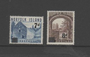 NORFOLK ISLAND #21-22  1958  WARDERS TOWER SURCHARGED NEW VALUES MINT VF NH  O.G