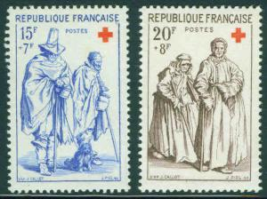 FRANCE Scott B318-9 MNH** 1957 Red Cross Semi Postal set