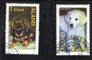Aland Finland Sc 191-2 2001 Dogsstamp set used