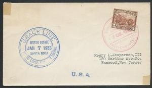 COLOMBIA 1933 cover Grace Line - Maiden voyage Santa Rosa..................61308