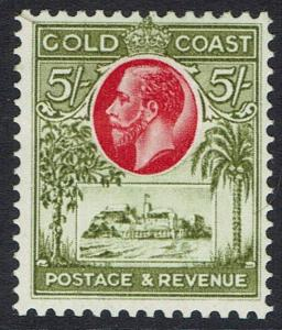 GOLD COAST 1928 KGV CASTLE 5/-