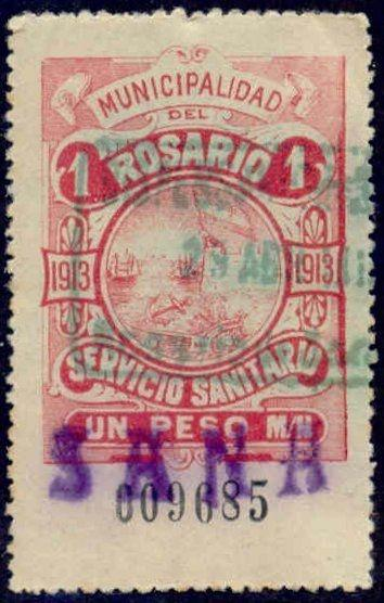 Rosario Argentina 1913 1P Hooker Tax Stamp w/ purple Sana & green cancel
